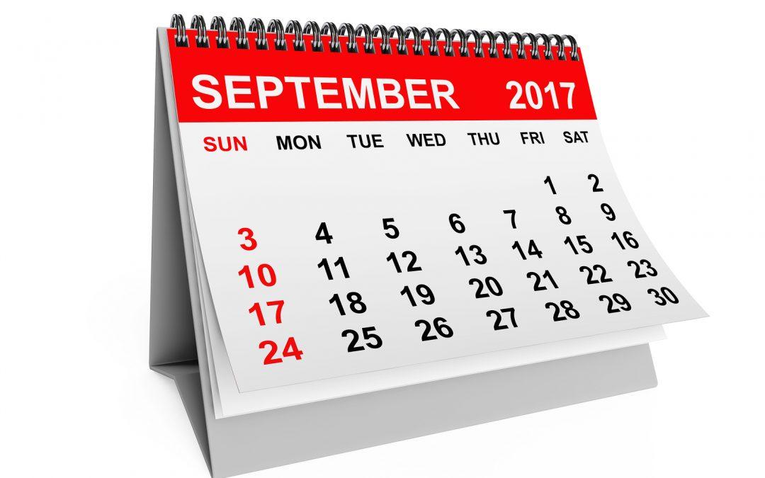 September 2017 Calendar Alerts