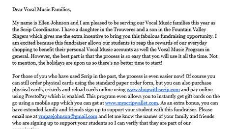Vocal Music Parents Association (VMPA) News